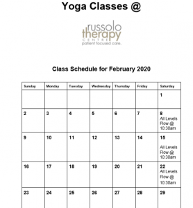 Yoga sched Feb. 2020